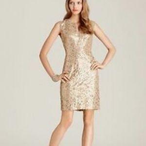 BCBGMAXAZRIA Gold Sequined Dress Size 2